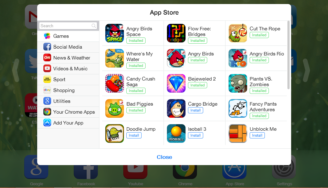 Vào App Store để thêm các biểu tượng ứng dụng mới.